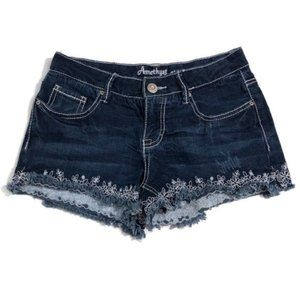 Amethyst Raw Hem Embroidered Blue Jeans Shorts
